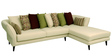 Florence Fantasy LHS Three Seater Sofa with Lounger and Throw Cushions in Ivory Colour by CasaCraft