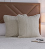 Floor and Furnishings White Cotton 24 x 24 Inch Chevron Special Cushion Covers - Set of 2