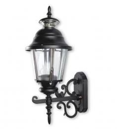 Fos Lighting Single Shade Black Ornate Lantern Style Outdoor Wall Light
