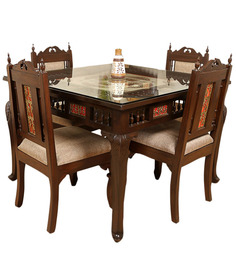 Four Seater Dining Set in Walnut Finish by ExclusiveLane