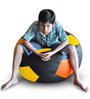 Football Bean Bag (Cover Only) XXL size in Black & Orange & Yellow Colour  by Style Homez