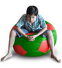 Football Bean Bag (Cover Only) XXL size in Green & Red Colour  by Style Homez