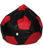 Football XXL Bean Bag Cover without Beans in Black and Red Colour by Sattva