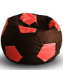 Football Bean Bag XXL size in Brown & Red Colour with Beans by Style Homez