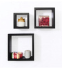 Forzza Black MDF Kate Lacquered Wall Shelves - Set of 3