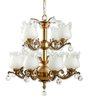 Fos Lighting 2-level 12 Light Antique Brass & Crystal Chandelier