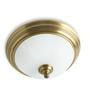 Fos Lighting White Antique Brass Flush Ceiling Light