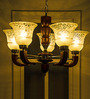 Fos Lighting 5 Light Wood & Brass Brown Chandelier