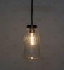 Fos Lighting Brown Glass & Wood Mason Jar Hanging Pendant Light