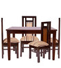 Four Seater Dining Set in Brown Polish by Karigar