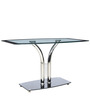 Four Seater Glass Top Dining Table with Chrome Pillar Base by Parin