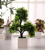 Fourwalls Green Polyester Iniature Artificial Tree In Ceramic Vase