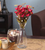Fourwalls Maroon Fabric Magnificent Artificial Rose Bunch - Set of 2