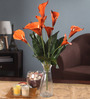 Fourwalls Orange Foam Latex Calla Lily Artificial Flower Bouquet