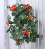 Fourwalls Orange Synthetic Tall Bougainvillea Hanging Basket Decorative Artificial Plant