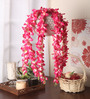 Fourwalls Pink Fabric Beautiful Artificial Hanging Orchid Flowers with Real Looking Leaves