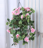 Fourwalls Pink Synthetic Tall Geranium Hanging Basket Decorative Artificial Plant