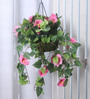 Fourwalls Pink Synthetic Tall Hibiscus Hanging Basket Decorative Artificial Plant
