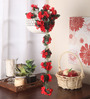 Fourwalls Red Fabric Artificial Floral Bale