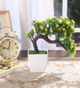 Fourwalls Yellow Synthetic Miniature Artificial Drooping Tree with Vase