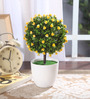 Fourwalls Yellow Synthetic Miniature Table Top Artificial Topiary Plant with Vase