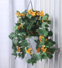 Fourwalls Yellow Synthetic Tall Bougainvillea Hanging Basket Decorative Artificial Plant