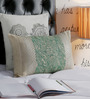 Foyer Cream & Green Silk 12 x 18 Inch Pure Tussar Cushion Cover with Hand Block Printing
