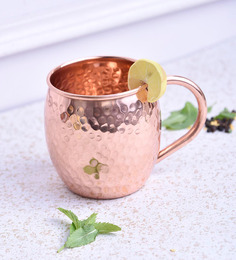 Frestol Copper 220 ML Hammered Cup With Handle