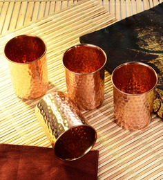 Frestol Copper 300 ML Handmade Glass - Set of 4
