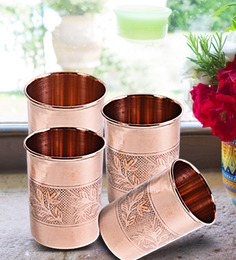 Frestol Embossed Copper & Steel 300 ML Glasses - Set of 4