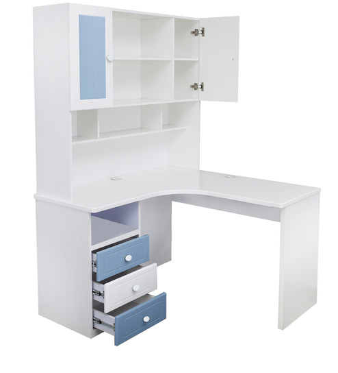 Buy French Collection Corner Study Table In Blue Finish By