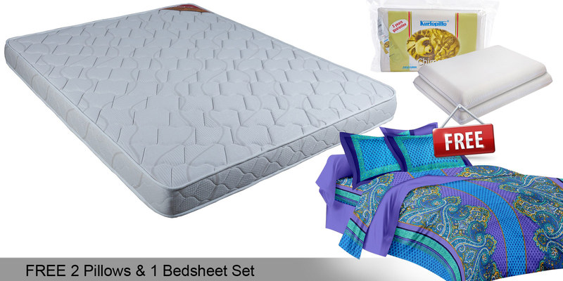 Free Offer - Convenio 4 Inches Thick King-Size Multi-Colour Foam Mattress by Kurl-On