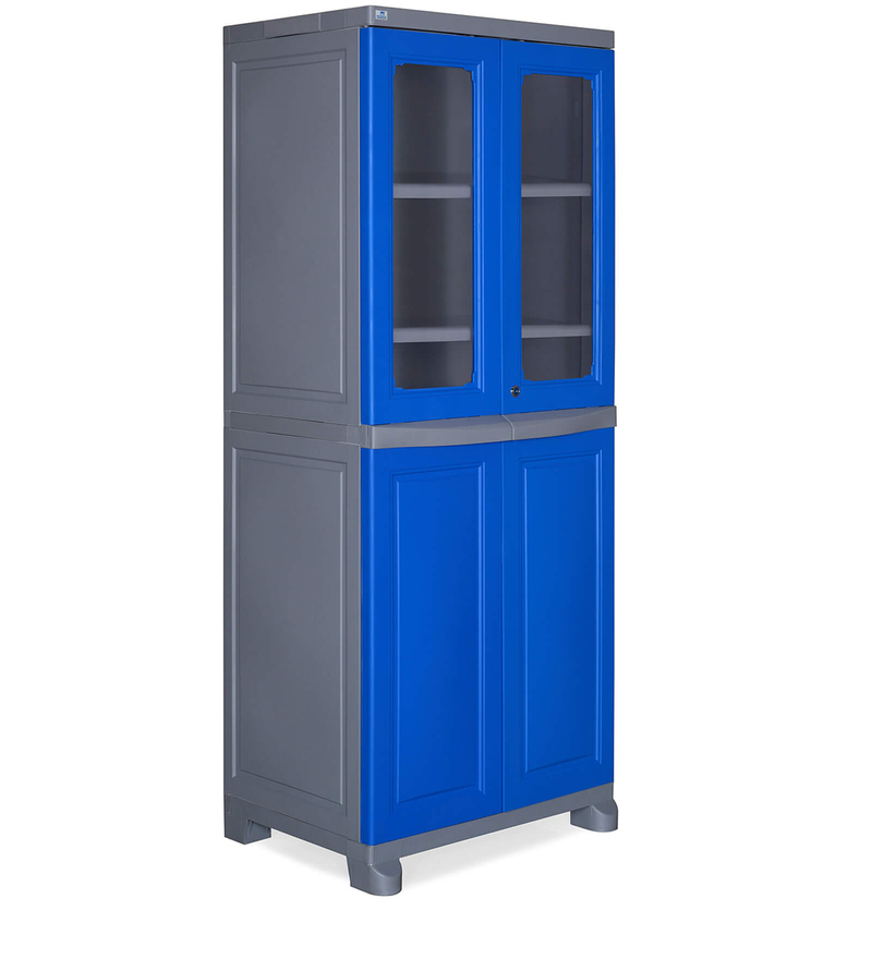 Freedom Four Door Wardrobe in Deep Blue & Grey Colour by Nilkamal  available at Pepperfry for Rs.10090