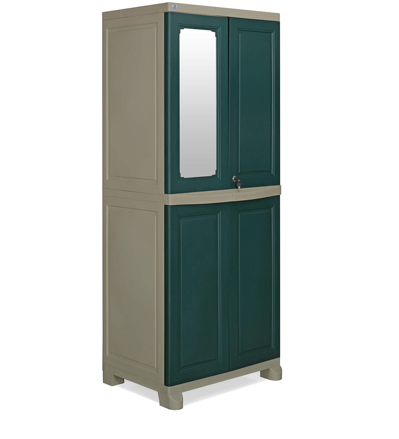 Freedom Four Door Wardrobe with Mirror in Olive Green & Pastle Green Colour by Nilkamal  available at Pepperfry for Rs.9990