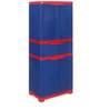 Freedom Multipurpose Cabinet with One Drawer in Center in Blue & Red Colour by Nilkamal