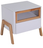 Fressia Bed Side Table in White &Walnut  Finish by Evok