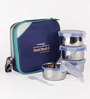 Friends Real Food Blue Stainless Steel 300 ML Lunch Box - Set of 4