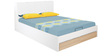 Fusion King Bed with Hydraulic Storage in White Colour by @ Home