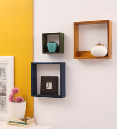 Furnicheer Multicolor Mango Wood Kriti Wall Shelf - Set Of 3