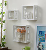 Fun Eclectic Wall Shelves Set of 3 in White by Bohemiana