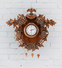 Furncoms Brown Wooden 22 x 4 x 19 Inch Wall Clock with Grapes