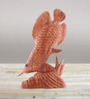 Furncoms Brown Wooden Fish On Stone Showpiece