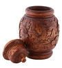 Furncoms Brown Wooden Flower Design Vase with Cap