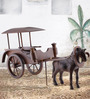 Furncoms Brown Wooden Vintage Horse Wagon