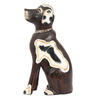 Furncoms Wenge Wooden Sitting Batik Dog Showpiece