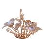 G n G 24K Gold Plated with Swarovski Crystals Flower Basket Showpiece