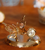 G N G 24K Gold Plated with Swarovski Crystals Butterfly with Clock Showpiece