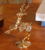G n G 24K Gold Plated with Swarovski Crystals Deer Showpiece