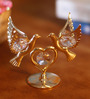 G n G 24K Gold Plated with Swarovski Crystals Double Dove Heart Showpiece