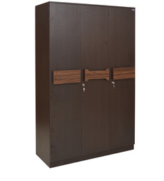 Galant Three Door Wardrobe in Wenge Colour by Crystal Furnitech